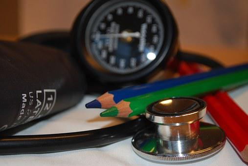 Care, Blood Pressure, Medicine, Stethoscope, Pens, Red