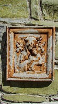 Panagia, Icon, Stone, Engraving, Monastery