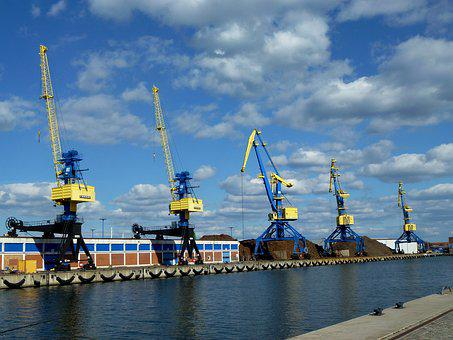 Cranes, Port, Stock, Warehouse, Goods Depot, Water