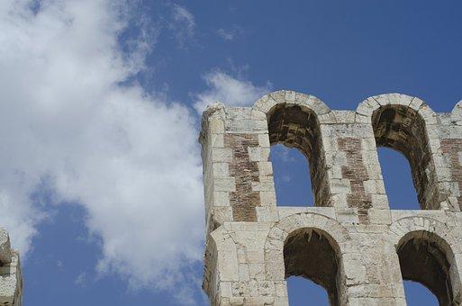 Sky, Clouds, Blue, Temple, Acropolis, Athens, Europe