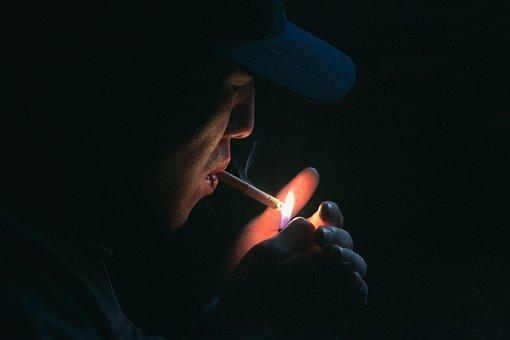 Cigar, Cigarette, Dark, Fag, Flame, Hands, Lighter, Man