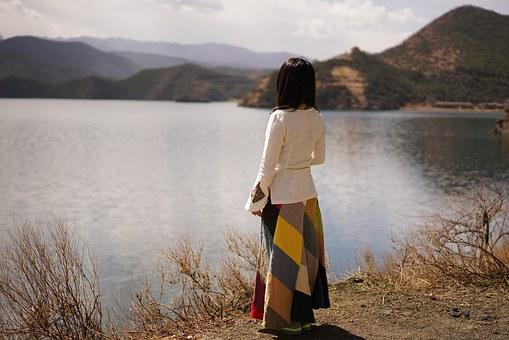Lake, Landscape, Wait And See, Woman, Rear View
