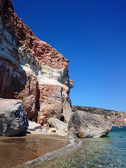 Beach, Volcanic, Rock, Milos, Island, Greece, Coast