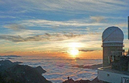 Pyrénées, South Peak, Summit, Clouds, Observatory, Dome