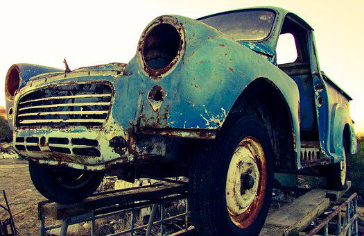 Car, Old, Vehicle, Blue, Vintage, Classic, Automobile