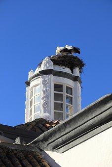 Portugal, Faro, Building, Tower, Nest, Storks