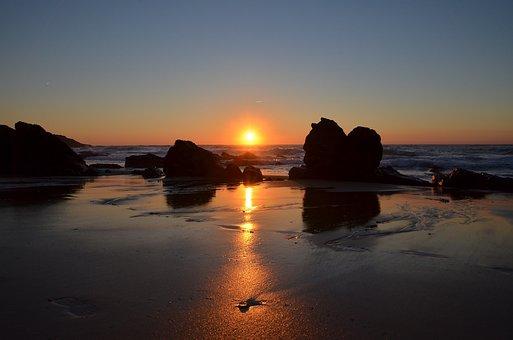 Sunset, Rocks, Nature, Landscape, Rock, Against Light