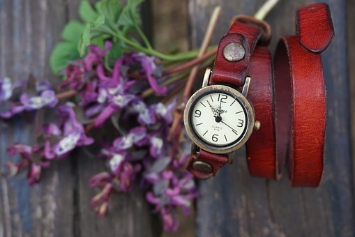 Vintage, Red, Watch, Watches, Purple, Flowers, Wooden