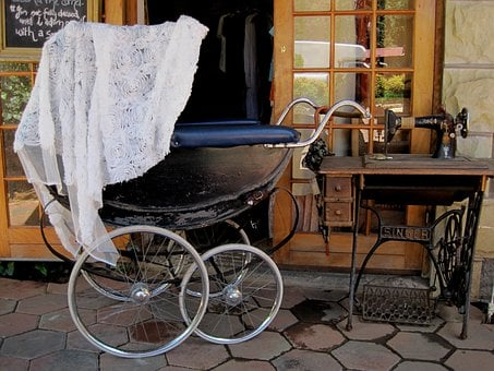 Black Perambulator, Large Wheels, Old Fashioned