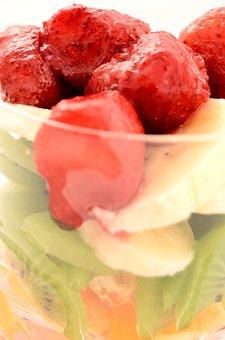 Bananas, Strawberries, Kiwi, Orange, Dessert, Ice Cream