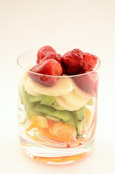 Bananas, Strawberries, Kiwi, Orange, Dessert, Ice Cream