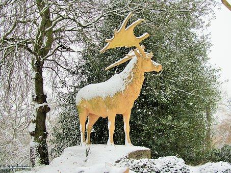 Stag, Snow, Winter, Statue, Deer, Reindeer
