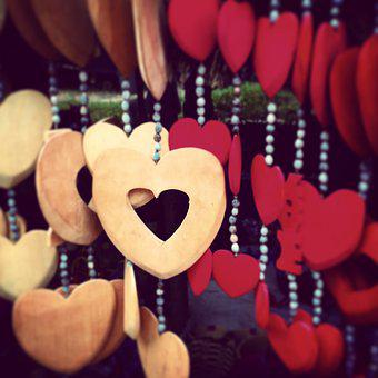 Decoration, Hanging, Hearts, Ornaments, Wooden