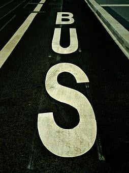 Bus, Bus Stop, Stop, Traffic, Road, Lettering, Font