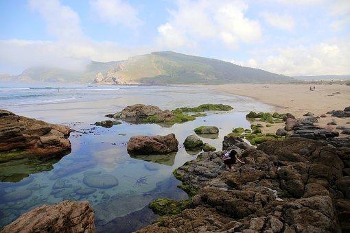 Beach, Blue, Mountain, Galicia, Cala, Summer