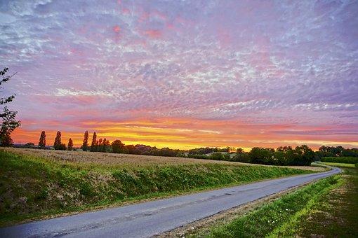 Sunset, France, Dordogne, Bordeaux, Countryside, Europe