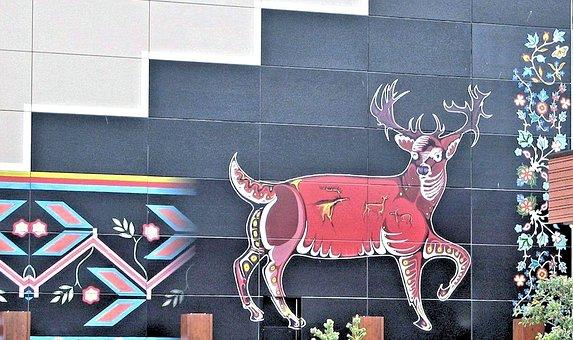 Mural, Native Indian Art, Caribou, Building Art
