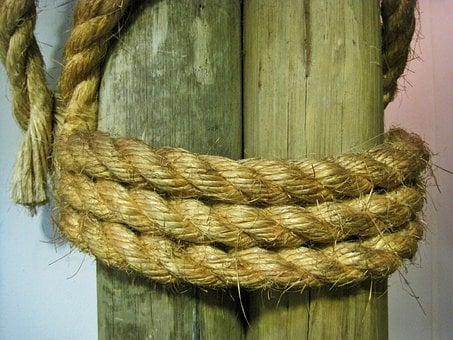 Rope, Thick, Strong, Tied, Post, Cord, Cable, Nautical