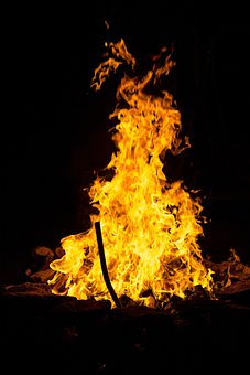Fire, Burning, Woods, Golden, Yellow, Flames, Camping