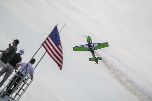 Plane, Airshow, Stunt, Usa, Flag, Old Glory, Aircraft