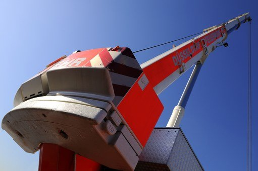 Firefighter Crane, Fire, Düsseldorf, Autokran, Site