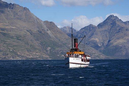 Tss Earnslaw, Lake Wakatipu, Lake, New, Zealand