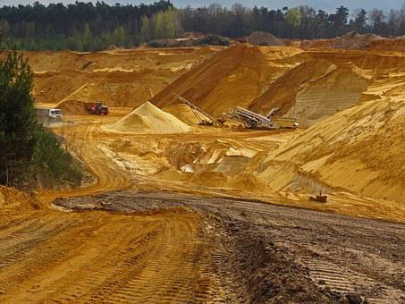 Open Pit Mining, Sand, Raw Materials, Removal, Sandpit