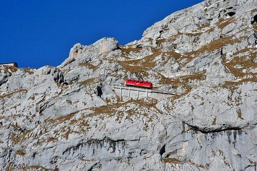 Railway, Steep Slope, Switzerland, Pilatus, The Alps