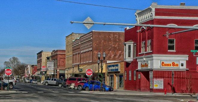 Fremont, Nebraska, Town, Urban, Bar, Pub, Stores, Shops