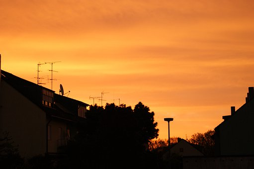 Sky, Red, Orange, In The Morning, Home, Homes, Sun