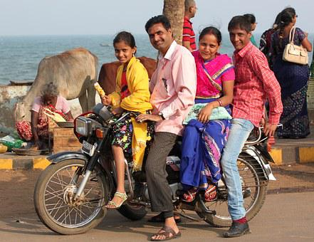 India, Indian Family, Happy, Motorcycle, Asian