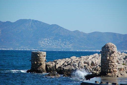 Landscape, Sea, Bollards