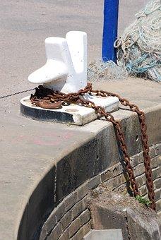 Bollard, Mooring, Harbor, Chain, Port