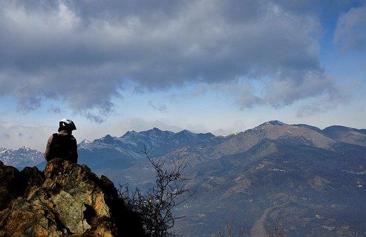 Mountain, Guy, Sky, Landscape, Cyclist