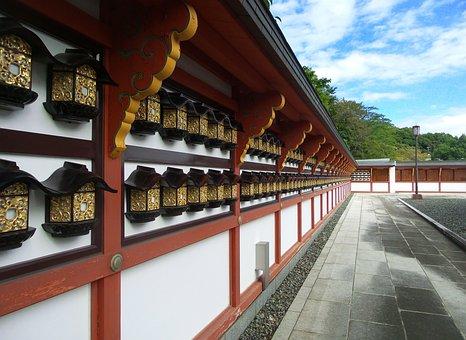 Japan, Narita, Temple, Lanterns, Wall, Blue, Sky