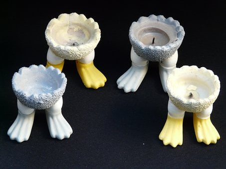 Candle Holders, Feet, Egg Cups, Deco, Light, Wick, Burn