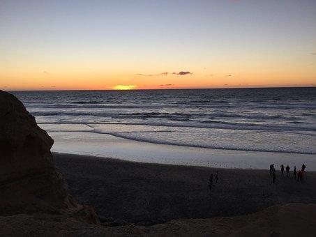 Sunset, Ocean, Beach, Waves, San Diego, California