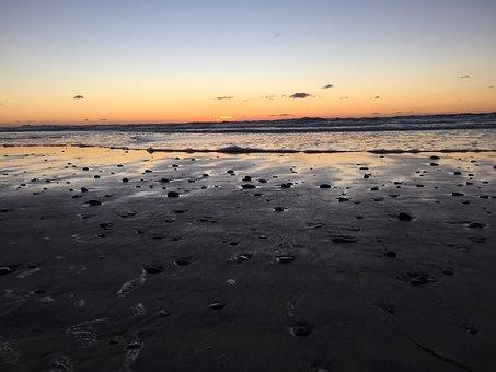 Sunset, Ocean, Beach, San Diego, California