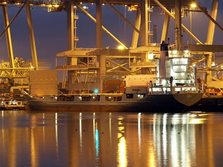 Rotterdam, Port, Harbor, Bay, Water, Reflections, Ship