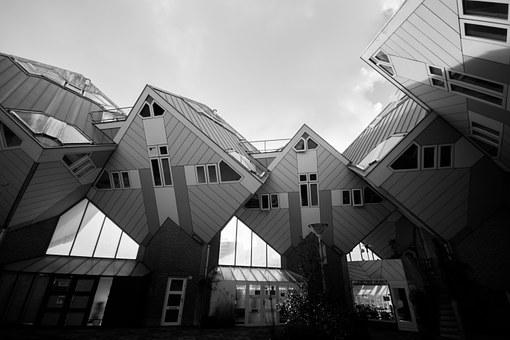 Houses, Rotterdam, Architecture, Residential, Cubic