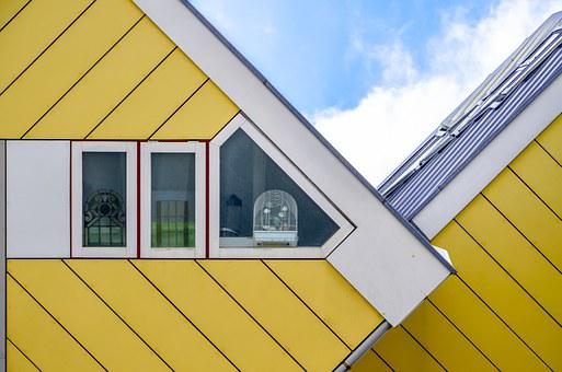 Rotterdam, Cubic Houses, Yellow, Architecture