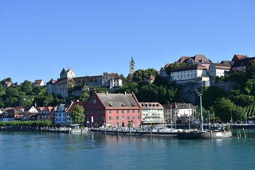 Meersburg, Lake Constance, Castle, Water, Lake, Port