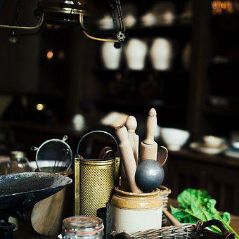 Container, Grater, Kitchen Counter, Old, Rolling Pin