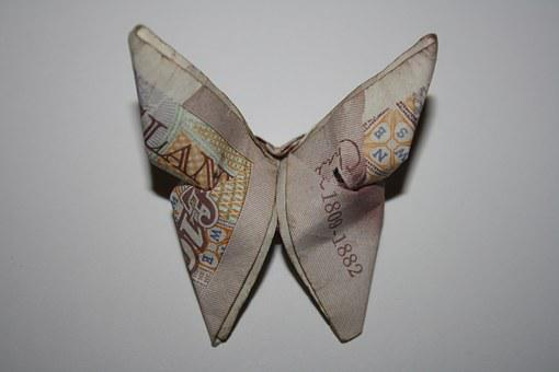Pounds, Tenner, Bank, Butterfly, Origami, Bills, Cash