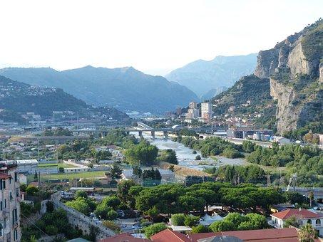 Ventimiglia, River, Bridge, Roia, City, Homes