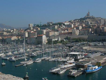 Port Of Marseille, Sailboats, Boats, Basilica