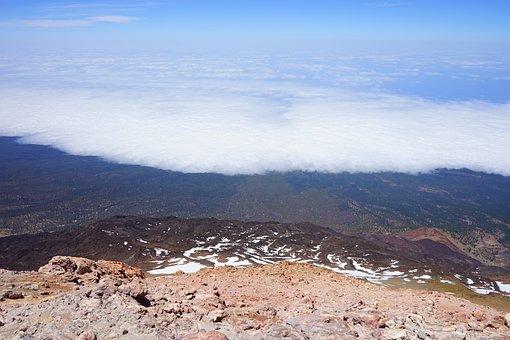 Teide, Outlook, Deep View, Lowlands, Fog, Clouds