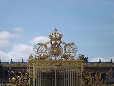 Versailles, France, Gate, Gold, Paris, Louis Xiv
