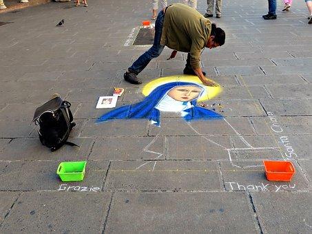 Street Art, Assisi, St Clare, Street Artist, Chalk