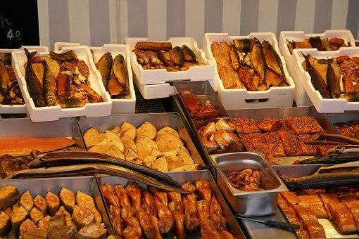 Seafood, Market, Alter Hafen, Wismar, Fish, Sale, Old
